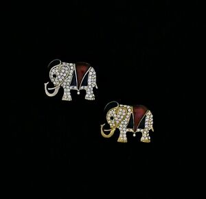 Cubic Zirconia Elephant Pin (Red and Blue)