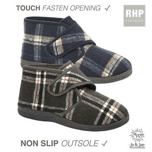 Mens Bootie Slippers Warm Fleece Lining Orthopaedic Touch Strap Boots Shoe Size