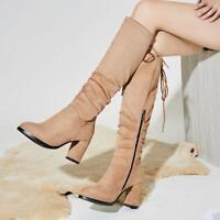 Women Winter Knee High Boots Round Toe Stretch Zip Mid Block Heel Lace Ups Sbox4