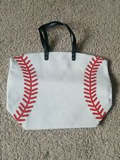 Baseball theamed Canvas Tote Bag crafty mom bag T Ball spring sports inner pouch