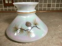 """Vintage 7"""" Fitter White Pine Cone Hurricane Oil Glass Lamp Shade Color Changing"""