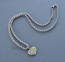 "3mm Stainless Steel Pendant Necklace Dangle Heart Rolo Link chain 20"" c20"