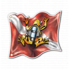 Scuba Diver Diving Down Flag Frog Car Bumper Sticker