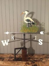 More details for vintage wrought iron weather vane rustic bird heron figure hand painted unique