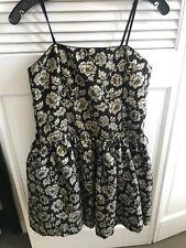 Elegant Black dress w/gold, Un Deux Trois, Junior Size 5, Spaghetti straps