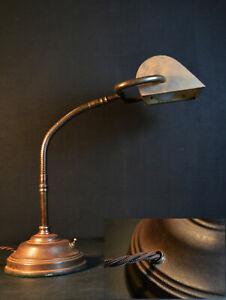 Vintage Edwardian C1910 large heavy bronze flexi stem captains' / bankers' lamp