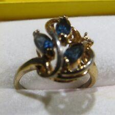 Bague plaquée or avec 3 pierres bleues