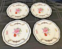 "Mikasa Fine China Lorraine 4 Salad Accent Plates Gold Trim 7 7/8"" L9308"
