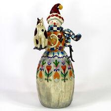 "Jim Shore Winter'S Friend 11.5"" Figurine B112244 Snowman Cat Christmas 2003 Mib"