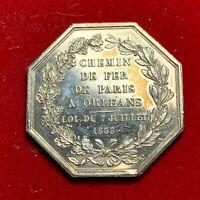 #5278 - Jeton en Argent poinçon en Argent Chemin de Fer de Paris à Orléans 1838