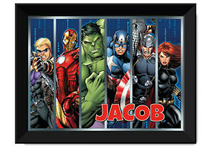 Marvel Avengers Framed Poster - Personalised with name - Available in A3 & A2