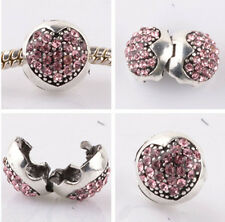1pcs silver love ball pink CZ snap beads fit Charm European Bracelet DIY AB958