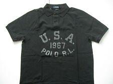 POLO RALPH LAUREN Men's Black Custom-Fit USA 1967 Mesh Polo L