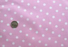 BABY PINK + WHITE SMALL POLKA DOT GIRL PASTEL FASHION SEW CRAFT FABRIC half yds