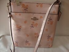 ~*NWT COACH Messenger Floral Bow Print Crossbody Bag Silver/Ice Pink 29878