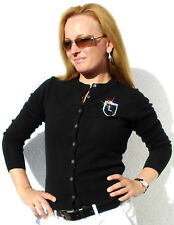 Luxe Oh` Dor 100% Cashmere Cardigan Luxury Black Crystals 40/42 M