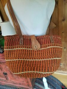 EXCELLENT Handwoven Sisal Jute Leather Trim Market Bag