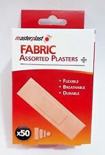 50x Masterplast Fabric Assorted Plasters In 4 Sizes Durable Flexible First Aid