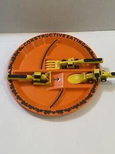 Constructive Eating Children's Plate Cutlery Spoon Fork Pusher Utensils Orange
