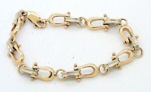 Heavy 14K 2-tone gold high fashion 9.4mm wide mariner shackle link bracelet
