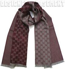 "GUCCI burgundy/gray Wool Jacquard HALF GG unisex 16x74"" Muffler Scarf NWT Authen"