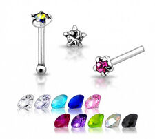 1 22g 6mm Silver CZ Star Pentagon Nose Stud Ring N092