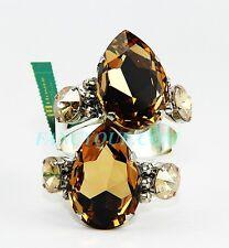 THORSON HOSIER LARGE PEAR CUT GOLD SWAROVSKI NAPKIN RINGS SET OF 2 ORIGINAL BOX