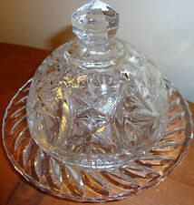 VINTAGE AMERICAN BRILLIANT PINWHEEL CUT GLASS CRYSTAL ROUND COVERED BUTTER DISH
