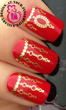 NAIL ART WRAP WATER TRANSFER DECALS SHINEY GOLD CHANDELIER CHAIN LINKED #130