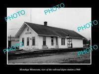 OLD LARGE HISTORIC PHOTO OF MENAHGA MINNESOTA, THE RAILROAD STATION c1960