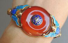 Vintage Chinese Blue Enamel Silver Carnelian Bracelet