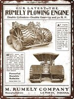 "1907 Rumely Plow Steam Engine Tractor Indiana Metal Sign Repro 9x12"" 60588"