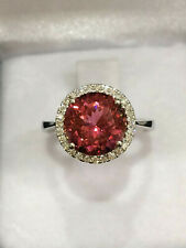 CERTIFIED 3.63 Ct TOP Quality Pink Tourmaline Ring 18K Gold and Diamonds