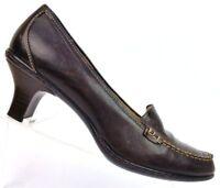 Sofft Brown Leather Croc Print Heeled Loafer Pumps Comfort Women's 8.5 M