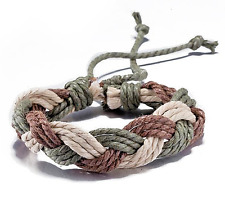 HANDMADE Woven Rope Bracelet Braided Brown Green White Unisex Women Men NEW