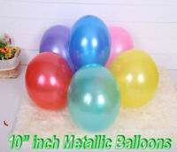 "10-100pcs METALLIC LATEX PEARL CHROME BALLOONS 10"" Helium Baloon Happy Birthday"