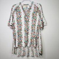 Matilda Jane Women's Top XS Our Atlas Notch Neck White Floral Tunic