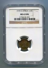 South Africa 1970 1/2 C Ngc MS 63 Bn Graded Coin