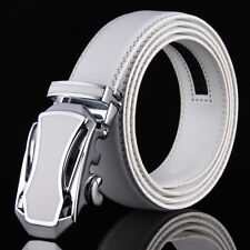White Belt For Men Genuine Leather Belts Automatic Ratchet Belt Buckles 46""