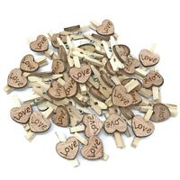 25mm Wooden Clothes Pegs with 15mm Love Hearts for Vintage Shabby Chic Wedding