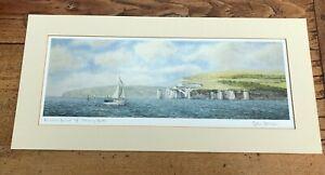 """signed mounted print titled """" homeward bound off old harry rocks """" robin davidso"""