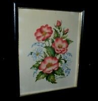 Vintage Framed Floral Watercolor Signed Mary Barnes 1981 Bluebells & Flowers