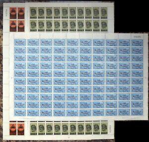 CYPRUS 1966 UN OPT'S (3) SG270/2 Complete Sheets of 100 As Described DG862