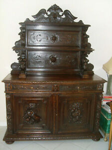 Antique French Sideboard carved oak