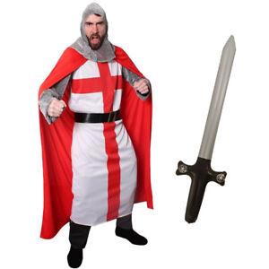 MENS KNIGHT COSTUME ADULT ST GEORGE FANCY DRESS MEDIEVAL ENGLISH CRUSADER MAN