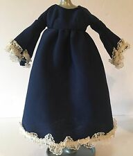 Vintage Barbie Doll Navy Blue Dress Gown With Lace Trim Long Sleeves & Bottom