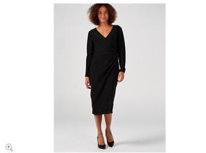 Ruth Langsford Metallic V Neck Lurex Dress Black Size 10 Brand New