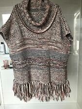 Ladies Cream Brown Rust Tassled Poncho One Size Would For 10 to 16