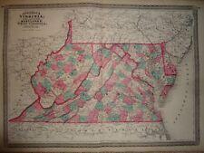Vintage 1868 VIRGINIA - WEST VIRGINIA MAP ~ Old Antique Original Atlas Map 92317