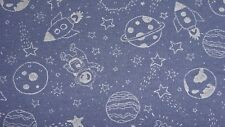 1 metre stretch jersey fabric with glow in the dark space items on dark blue